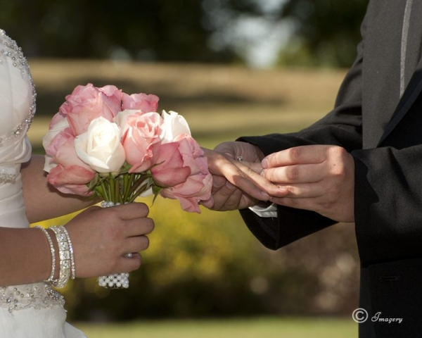 Wedding Picture of Man and Woman Exchanging Rings