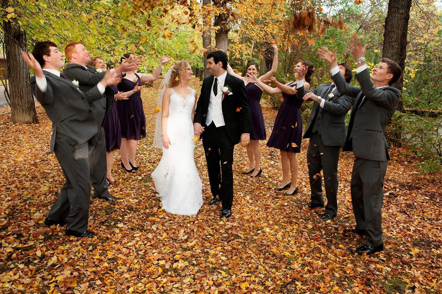 Professional Wedding Picture of Bride and Groom in Fall Scene