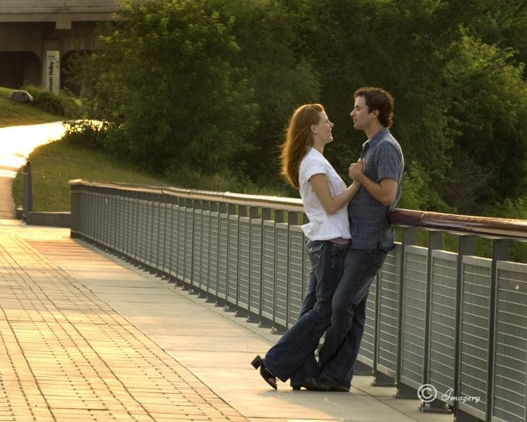 Professional Photo Couple Outside on Bridge