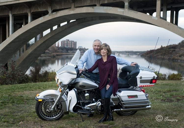 Professional Photo Couple Outside on Motorcycle
