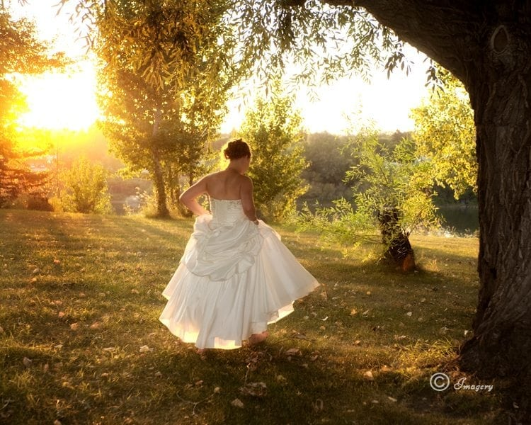 Wedding Picture of Bride in Dress in Sunset