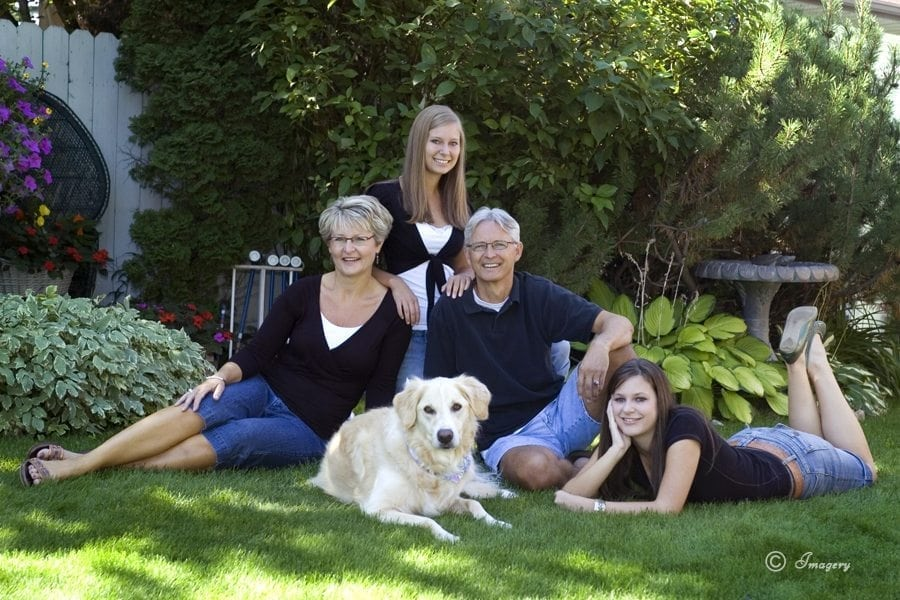 Professional Photo Family with Dog Outside